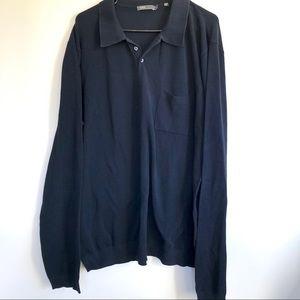 VINCE Men's Cotton Navy Blue Long Sleeve Shirt XL